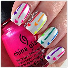 Rainbow Heart Skittles Nails Nail Art Nail Design