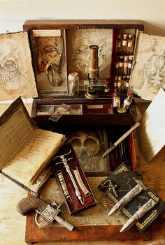 To establish a museum of specimens of bizarre creatures and mysterious artifacts in East London, th Larp, Vampire Hunter, Vintage Medical, Fantasy Weapons, East London, My New Room, Macabre, Creepy, Steampunk