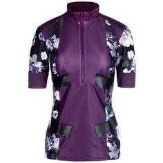 Adidas By Stella Mccartney T-shirt (135 AUD) ❤ liked on Polyvore featuring activewear, activewear tops, deep purple, print turtleneck, turtleneck top, short sleeve turtleneck tops, short sleeve turtleneck and adidas sportswear