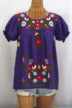 "Siren's ""La Mariposa Corta de Color"" Embroidered Mexican Peasant Blouse in Purple with Red Trim.  Available now at SirenSirenSiren.com"
