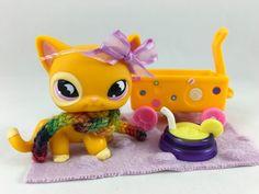 Littlest Pet Shop RARE Orange Cat #855 w/Purple Moon Eyes, Scarf & Accessories #Hasbro