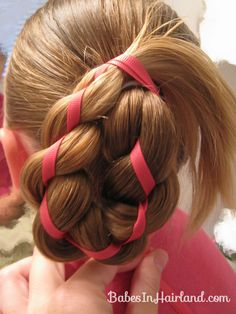 4 Strand Braid with Ribbon In It <--- cute hair for a wedding, easilly tuck the excess ribbon in and put a flower