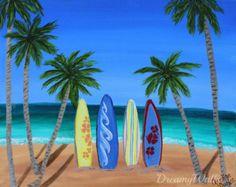 Surf Decor Surf Art Tropical Art Palm Tree by ArtByChristinaDudycz