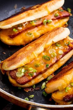 Grilled Cheese Dog (makes Sliced hot dogs grilled, with green onion, plus melted shredded Cheddar cheese or your additions. Make them fancier with Gruyère and caramelized onions or provolone cheese and peppers. Grilled Cheese Hot Dog, Making Grilled Cheese, Grilled Cheese Recipes, Grilled Cheeses, Grilled Meat, Dog Recipes, Grilling Recipes, Cooking Recipes, Hot Sandwich Recipes