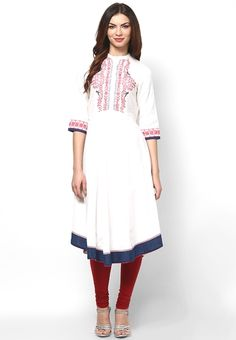 White Solid Viscose Blend Kurta