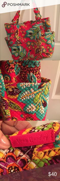 "Vera Bradley Large Bag ""Rumba"" Hadley Tote bag <3 Large Beautiful Vera Bradley Hadley tote bag in the Rumba fabric. EUC  13"" x 17"" , with strap, 24"" long - make me an offer! The Hadley tote retails for $98. Excellent like new condition. Vera Bradley Bags Travel Bags"