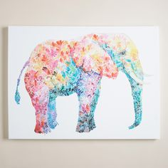 """Known for her colorful, whimsical work, Claudia Schoen is strongly influenced by the free-spirited designs of the 70s and uses uplifting vintage images, papers and lettering. """"Elephant Gum"""" is an equally bohemian and playful piece that embodies her wild style, featuring raised, hand-painted embellishment for added texture."""