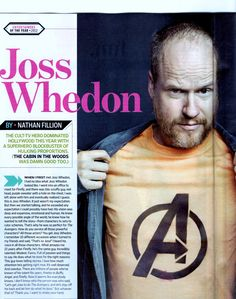 Scan of EW article from 12/7/12 issue. Nathan Fillion on Joss Whedon.