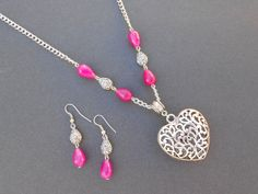 Hot pink agate and heart pendant and earrings. by CharismaBolivia, $41.00