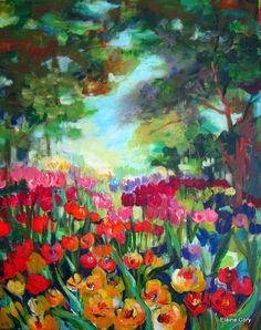 Landscape Painting Tulips Forrest canvas art  22 x 28 Original Painting Art by Elaine Cory