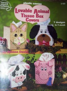 Plastic Canvas animal tissue box covers PATTERN BOOK 3185