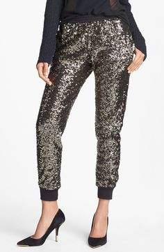 These sparkling sweatpants are glamorous and comfy!
