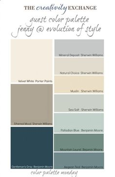 Collection of warm transitional Paint colors from Guest Blogger Jenny @ Evolution of Style. Color Palette Monday