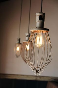 lights made from mixer whisks....great for over a kitchen island
