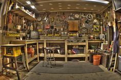 I love this guy's description of necessary elements to turn a garage into a man cave. In addition to the expected stuff (like tools, lighting, etc.) he adds: You will require a fridge. It needs to be packed with drinks and snacks – preferably something like Chex Mix. This solution is ideal.