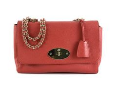 BAG,  MULBERRY,  Medium Lily, red leather, detail in yellow metal, 28x18x7cm,  padlock. #mulberry #bag #lily #red