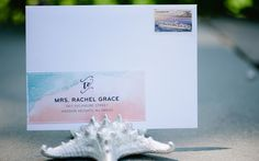 Watercolor Undersea Whale Baby Shower Invitation, And Here We Are // Love this address styling.