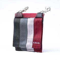 recycled seatbelt. Multi-functional. Can be worn cross body or clipped into belt hoops or onto other bags.