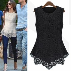Fashion O Neck Sleeveless Irregular Solid Black Lace Blouse_Blouses&Shirts_Tops_Womens Clothing_Cheap Clothes,Cheap Shoes Online,Wholesale Shoes,Clothing On lovelywholesale.com - LovelyWholesale.com