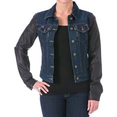 c3f4dcf08be Cold Weather Shop · LAUNDRY BY SHELLI SEGAL Womens Distressed Vegan Leather  Denim Jacket Laundry By Shelli Segal
