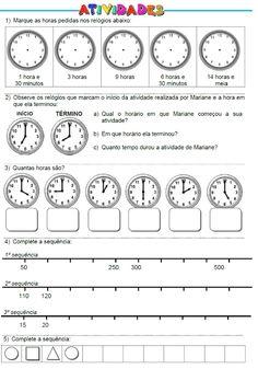 ATIVIDADES PARA EDUCADORES: Atividades: Horas, Sequência de Números e de Figur...
