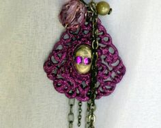 Vintage Photo Necklace and Bracelet, Purple, Silver, Gunmetal, Long - Edit Listing - Etsy