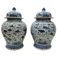 A Pair of Blue and White Porcelain Jars with Covers | From a unique collection of antique and modern porcelain at http://www.1stdibs.com/furniture/dining-entertaining/porcelain/