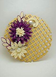 Quilled flowers on wooden mdf.