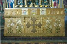 """Historic """"Alleluia"""" Altar Frontal Appeal. The STITCHES making up this lovely Alleluia Altar Frontal were skilfully sewn by Sister Elizabeth specifically for Holy Saviour Church.  She had already made other altar frontals, super-frontals and vestments for the church."""