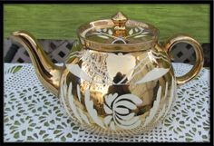 Majestic Mountain Gibsons Staffordshire England Gold Teapot 1950s teapot
