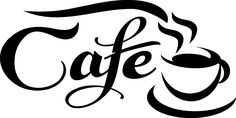 Cafe Die Cut Vinyl Decal for Windows, Vehicle Windows, Vehicle Body Surfaces or just about any surface that is smooth and clean Stencils, Stencil Art, Coffee Theme, Coffee Art, Coffee Drawing, Silhouette Cameo, Vinyl Decals, Wall Decals, Plotter Cutter