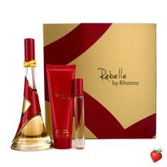 Rihanna Rebelle Coffret: Eau De Parfum Spray 100ml/3.4oz + Body Butter 85g/3oz + Rollerball 6ml/0.2oz 3pcs #Rihanna #Perfume #Valentine #Women #StrawberryNET #Giveaway #GiftSet