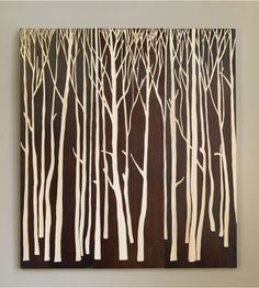 "Wooden Wall Art Panels modern birch tree metal wall art panel 24""x19"" 