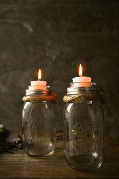 BettysZwergenstube Mason Jar Votive Candles Glass Votive Candle Holder Jute/Rope/Grapevine