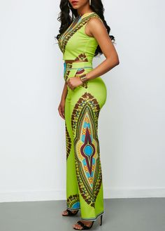 Sleeveless Round Neck Top and Dashiki Print Pants on sale only US$35.37 now, buy cheap Sleeveless Round Neck Top and Dashiki Print Pants at liligal.com