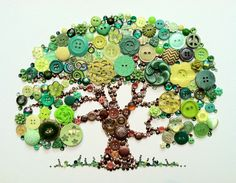 Tree of Life Button Art - could do this with my jar of green buttons.