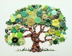 Tree of Life Button Art with Swarovski Rhinestones by BellePapiers, $84.00