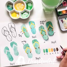 how to draw flip flops, drawing pictures, step by step, diy tutorial, watercolor paint Watercolor Tips, Watercolour Tutorials, Watercolor Drawing, Watercolor Techniques, Painting & Drawing, Gouache Painting, Painting Techniques, Summer Painting, Flower Doodles