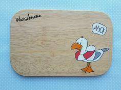 """Brettchen - Frühstücksbrettchen """"Möwe Bob"""" ®emmapünktchen - ein Designerstück von KleckerKram bei DaWanda"""