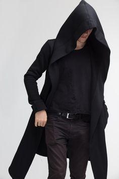 12bd0df20f9 Dieser stylish-schwarze Kapuzenmantel ist ein selbst konzipiertes