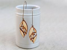 BLOOM wood earrings cut leaf shapes in various sizes and wood glue together