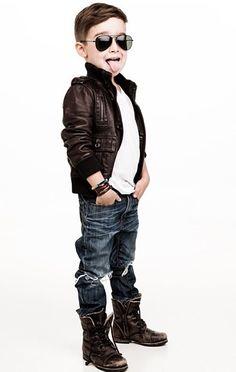 Boys fashion. Combat boots & leather jacket