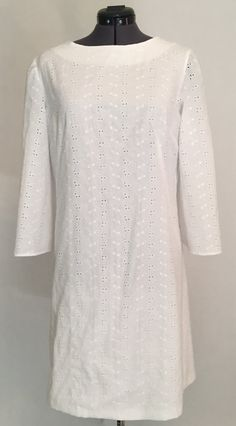 Retro 1960s  New-Vintage 1967 Pattern A-Line Bell Sleeve White Eyelet Dress Size 10-12