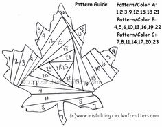 Free printable iris folding patterns: Maple leaf