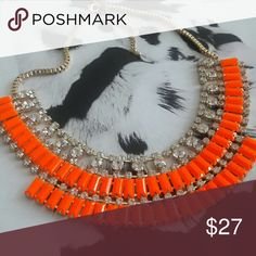 Neon Orange Rhinestone Necklace Stunning pop of color bringing your casual, but chic look to life. Adjustable necklace. Jewelry Necklaces