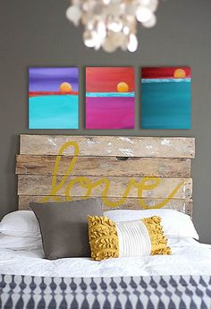 8x10 Set of Three Original Paintings Abstract by Katy Karnes ~ Triptych Art, Colorful Wall Art on Canvas, Abstract Seascape, Nursery, Gift