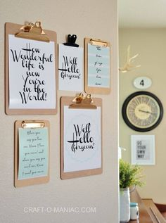 Easy to change your wall art based on current project or goals-- love this!!