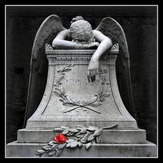 """Angel of Grief"" statue, W. Story) there's a Rose by a weeping angel..."
