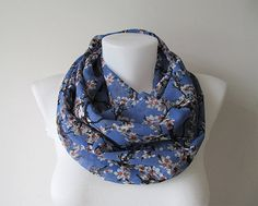 Floral Infinity Scarf Blue Circle Scarf by NaryasSewingCorner