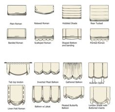 The exact info I was looking for! Names of all the roman shades :):